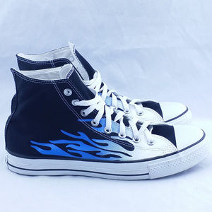 Converse All Star Blue Flame on Black High Top